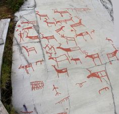 Great idea for Paleolithic art project. Linoleum block printing on fabric.