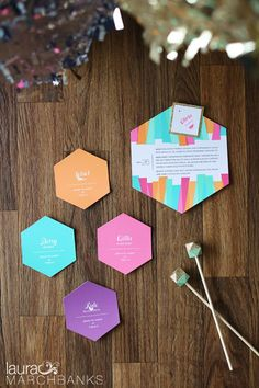 Geometric place cards, stir sticks and invite by Merchant's Design as coordinated by Simply Wed #weddingsinwoodinville Laura Marchbanks Photography