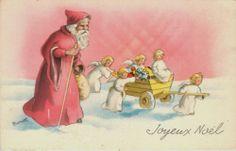 Artist Signed Bernet 1920s Christmas Santa Claus Red Coat Angelsvintage Postcard | eBay Price:  $15.99