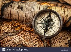 map and compass pics | Old vintage compass on ancient map Stock Photo, Royalty Free Image ...