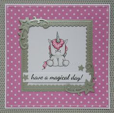 Cute pink CAS card with unicorn (image by Stamping Bella)