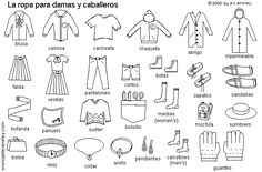 Spanish clothing coloring sheet.