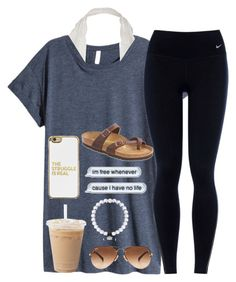 """"""" Can't blame a girl for tryin"""" by simplylovelyruru ❤ liked on Polyvore featuring H&M, NIKE, Ray-Ban, Birkenstock and BaubleBar"""