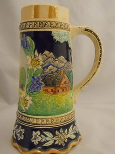 Vintage Wiesbaden Kurhaus Beer Stein Mug Tankard Germany 8.25 Inches.  Perhaps not 'unearthed,' but not bought in city market, thus we tag it 'vintage!'