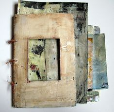 Junk Mail Book by franswazz - pieces of junk mail covered with gesso and then watercolors in preparation for painting http://www.flickr.com/photos/romarin/with/6555054117/#photo_6555054117 #mixed_media #surface_treatment