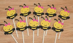 24 Girl Bee Cupcake Toppers,