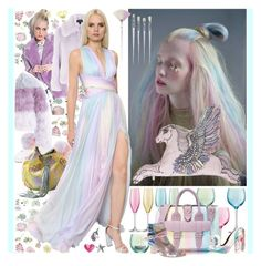 """""""Unicorn Pastel Winter Wedding"""" by yours-styling-best-friend ❤ liked on Polyvore featuring York Wallcoverings, Jocelyn, Glamorous, LSA International, Forever 21, Moncler, Gianvito Rossi, The Ragged Priest, Sugarpills and Lazy Oaf"""