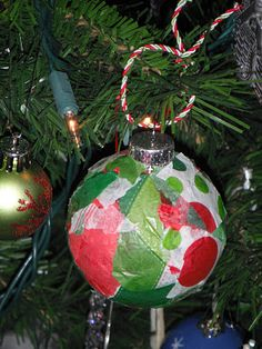 Glass Ornament + tissue + glue = Preschool Parent Gift for Christmas