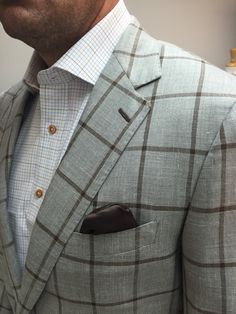 Loro Piana taupe & brown windowpane fabric. Get yours at www.bspokestyle.com
