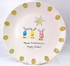 Easter customized painted ceramic plate.