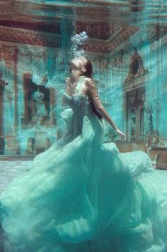 Seafoam Green/Blue Gown on Mermaid