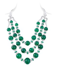 """✨✨ Emerald Envy! This emerald and diamond """"Maharani"""" necklace is indeed fit for an empress. The haut diamantaire's offerings range from high jewelry to bridal collections and signature collections including the Embrace Collection and the Jasmine Collection. Explore his enchantments @niravmodijewels"""