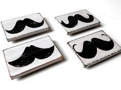 Wood Mustache Fridge Magnets. Yes.
