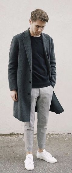 Monochrome combo with a charcoal gray topcoat black crew sweatshirt gray  trousers no show socks white 689d0424257