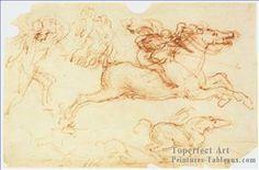 3 Galloping Rider et Other Figures Leonardo Da Vinci peinture à l'huile