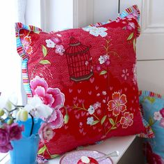 birds in paradise square cushions by pip by fifty one percent | notonthehighstreet.com