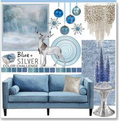 """""""Blue and Silver Color Challenge"""" by stephlo-1 on Polyvore"""