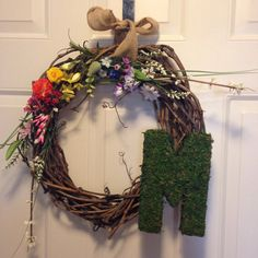 Moss Initial stick wreath with greenery and by ReagyLaneDesigns