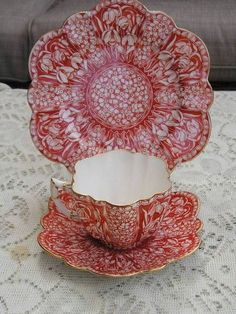 Wileman Foley (Shelley) Daisy shape Snowdrop pattern 9177 trio in red . - I love this pattern & color! China Tea Cups, Teapots And Cups, Vintage China, Vintage Teacups, Antique China, Tea Service, My Cup Of Tea, China Patterns, Tea Cup Saucer