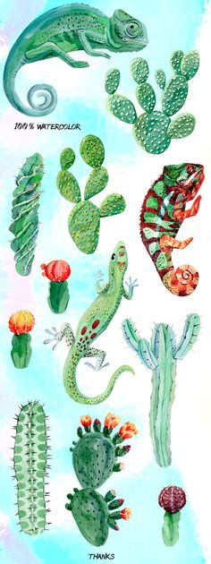 Chameleon and cactus. Watercolor set
