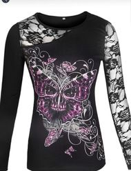 Top, Lace Sleeve Skull Butterfly