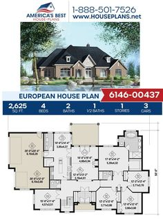 Plan 6146-00437 features 2,625 sq. ft., 4 bedrooms, 2.5 bathrooms, a formal living room, a side entry garage, and a kitchen island. Learn more about this European design on our website. #houseplans #buildingahome #homebuilding European Plan, European House Plans, Best House Plans, Build Your Dream Home, Formal Living Rooms, New Builds, Building Materials, Square Feet, Facade