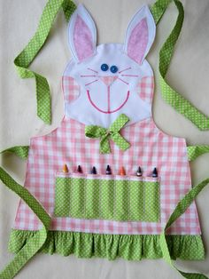 Sloane needs this so she will stop coloring her belly!    EASTER BUNNY Crayon/Craft Apron Fully LINED with by KiddieKOVE, $30.00