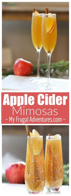 Apple Cider Mimosas- perfect fall and winter cocktail.  This is super simple and incredibly good!