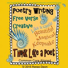 Poetry Writing: Kids create free verse poems that are breath-taking display pieces. Creative, divergent thinking pops off the page. Complete writer's workshop lessons—16 in all—will build poetry step-by-step. Lists, charts and examples support each lesson.
