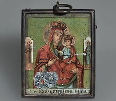 Items belonging to the Imperial family found in the Ipatiev House after their executions.     1. An icon of the Mother of God and Christ Child