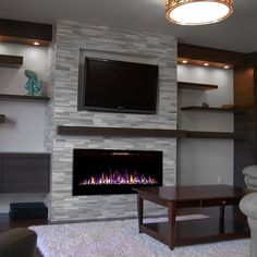Fusion 50 Inch Built-in Ventless Heater Recessed Wall Mounted Electric Fireplace. - Fusion 50 Inch Built-in Ventless Heater Recessed Wall Mounted Electric Fireplace – Pebble - Fireplace Tv Wall, Linear Fireplace, Fireplace Built Ins, Fireplace Remodel, Fireplace Design, Basement Fireplace, Fireplace Ideas, Built In Around Fireplace, Fireplace Lighting