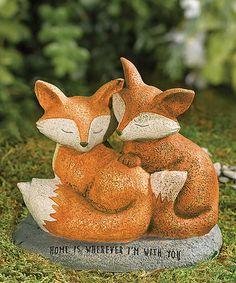 Fox Couple Garden Figurine #zulilyfinds