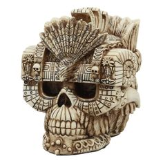 World Menagerie Cardello Aztec Empire Emperor Montezuma Skull Figurine & Reviews | Wayfair Aztec Statues, Bird Statues, Tribal Tattoo Designs, Tribal Tattoos, Aztec Artifacts, Aztec Empire, Montezuma, Historical Artifacts, Collectible Figurines