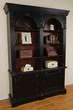 Double Arch Bookcase - Black Distressed