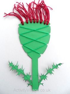 """This interesting craft combines a number of techniques to produce a """"woven"""" thistle with lots of texture. Fun Crafts, Crafts For Kids, Arts And Crafts, Burns Night Crafts, Katie Morag, Tartan Crafts, Scottish Festival, Celtic Crafts, Family Crafts"""