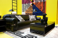 Versace Home Collection 2012 black leather couch