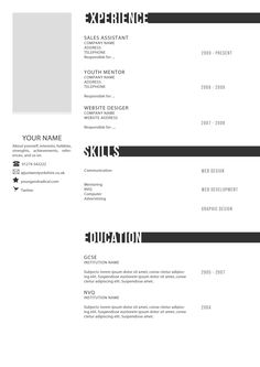 Creative CV Template - Black & White  https://www.facebook.com/pages/Art-of-street/144938735644793?ref=ts=ts