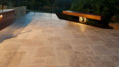 Travertine Pavers, Concrete Pavers, Brick Paving, Paving Stones, Outdoor Paving, Pebble Garden, Modern Courtyard, Glass Fence, Natural Stone Flooring