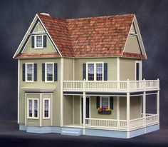 Dorothy, Victoria's Farmhouse Wooden Dollhouse Kit with Optional Turntable, Made In USA, Scale One Inch