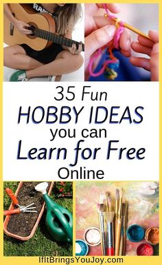 List of 35 fun hobby ideas to try. Each hobby in this collection includes a free tutorial or video so you can learn for free at home online. From crafty hobbies to learning to play guitar, youll find a hobby thats right for you. Easy Hobbies, Crafty Hobbies, Hobbies For Women, Hobbies To Try, Hobbies And Interests, Great Hobbies, Hobbies And Crafts, Hobbies List Of, Hobbies For Adults