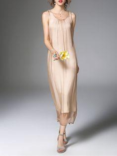 Shop Midi Dresses - Apricot Silk Mesh Casual Midi Dress online. Discover unique designers fashion at StyleWe.com.