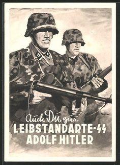AK Auch Du zur SS-Leibstandarte Adolf Hitler, SS-Männer in Uniform mit Stahlhelm & Gewehr
