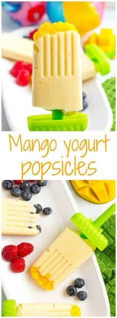 Mango yogurt popsicles - easy homemade popsicles with just 5 healthy ingredients - perfect summer treat! #mangos #ad