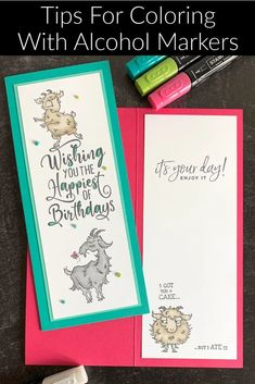 Need tips for COLORING with ALCOHOL MARKERS? These smooth markers are smooth and give you the ability to do shading like a pro. Plus I've got a super cute DIY CARD with the Stampin' Up! Way to Goat stamp set. Join the fun at www.klompenstampers.com #alcoholmarkers #coloringtips #stampinblends #craftsupplies #diycard #cardmakingtutorial #stampinupwaytogoat #waytogoatstampinup #jackiebolhuis #klompenstampers #stampinupcards