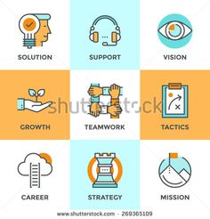 Line icons set with flat design elements of success business metaphor, marketing vision, customer support, idea solution, career ladder, startup growth. Modern vector logo pictogram collection concept - stock vector
