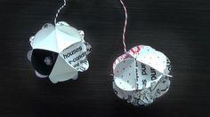 Askartele tyylikkäitä joulupalloja paperikasseista tai vanhoista korteista. Pallot kootaan 20 pienestä pyörylästä.
