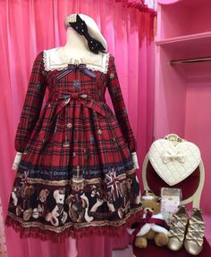 Lolita Fashion // Coordinate Inspiration // ♔Angelic Princess♔// Lolita Fashion // Angelic Pretty British Bear One Piece - Red // teddy bear ribbon bows plaid check tartan OP dress beret purse handbag heart shoes coord