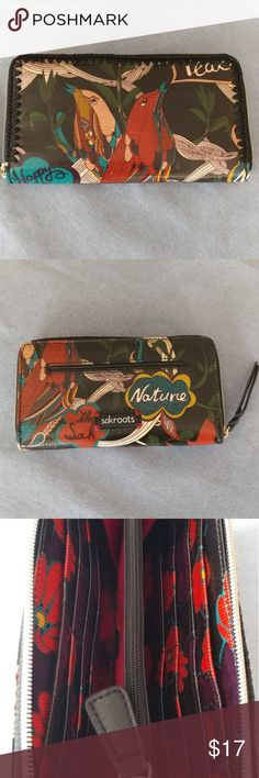 """Beautiful Wallet/ Clutch This wallet by sakroots will definitely bring a smile to your face! Can be carried as a wallet or clutch. Outside features colorful bird design and a zipper closure. Inside features a black and red flower pattern, 2 compartments, 2 slip pockets, 1 zip pouch, and 12 card slots. L 8"""" W 1"""" D 4.5"""" sakroots Bags Wallets"""