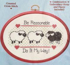 Black Sheep Humor Lamb Counted Cross Stitch Kit Sheep Be Reasonable Dimensions
