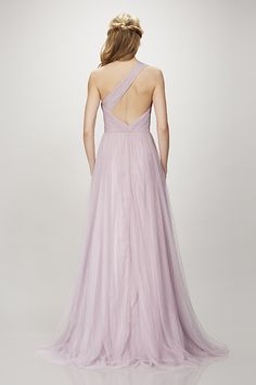 Holly - One shoulder ruched bodice tulle gown
